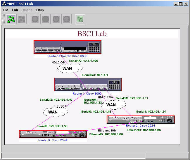 MIMIC Virtual Lab GUI with simulated network
